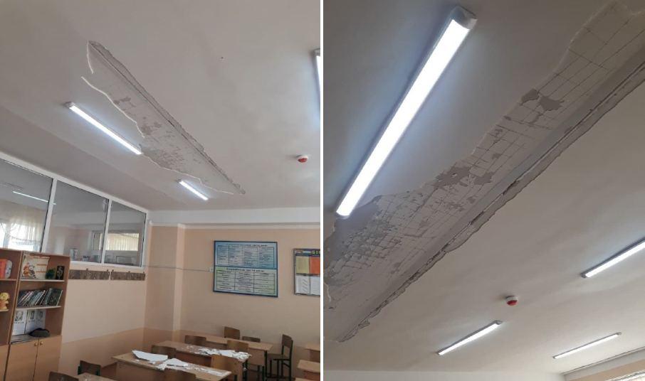В школе Янгиюля на двух учеников частично обрушился потолок