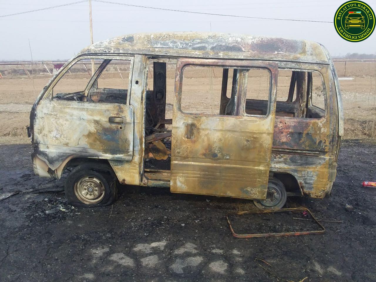В Ферганской области полностью сгорел Damas