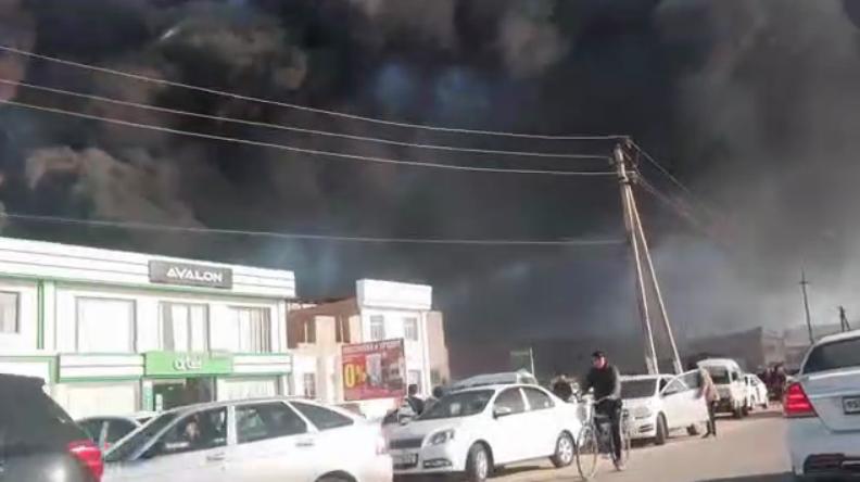 В Нукусе загорелся цех по производству дверей — видео