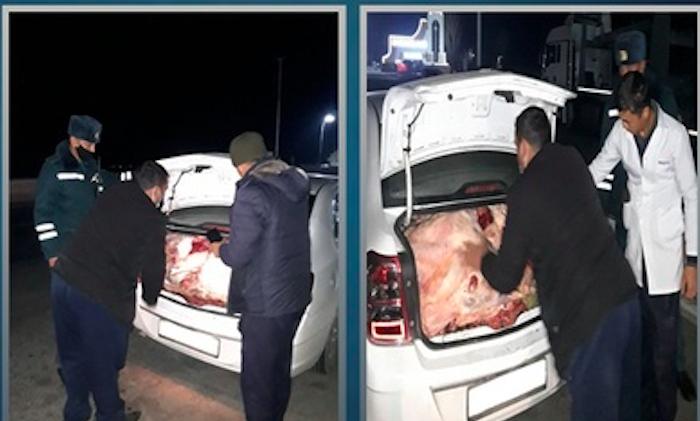 В Навои водитель Cobalt пытался перевезти 15 бараньих голов, игнорируя правила санитарии