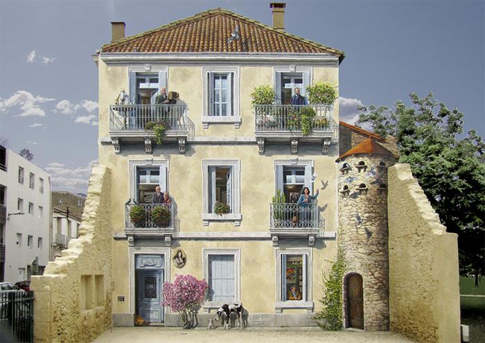 Канны, эпоха Ренессанса и картины: как французский художник перевоплощает фасады зданий в произведения искусства – фото