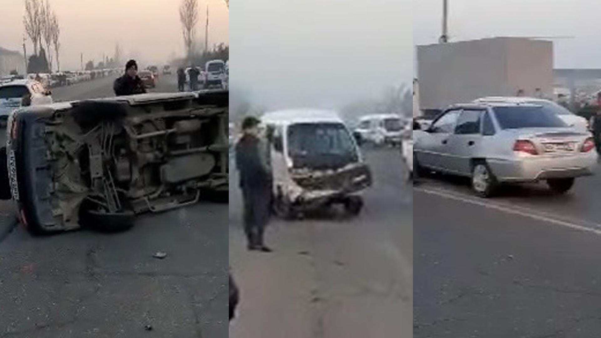 В Андижанской области столкнулись три автомобиля — видео