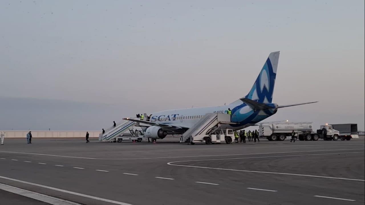 В Ургенче приземлился самолет казахстанской авиакомпании SCAT — видео