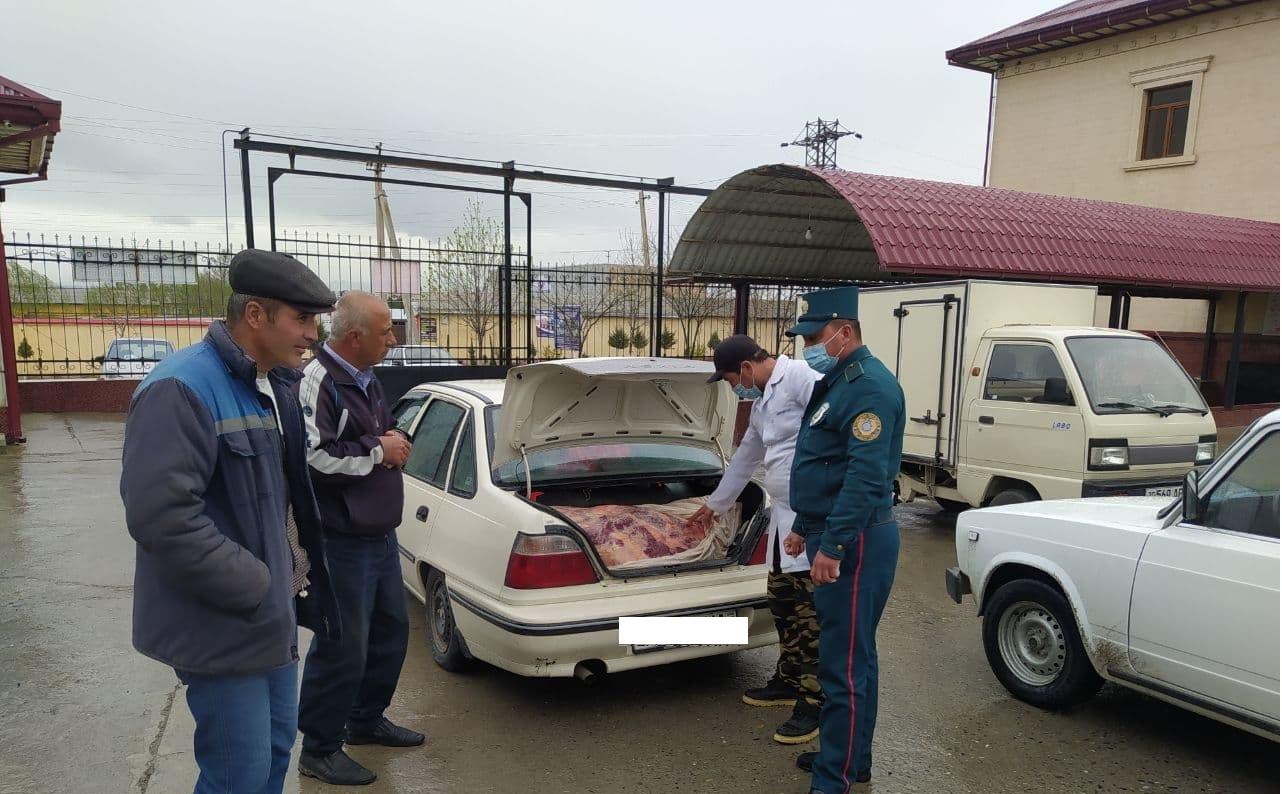 Водитель Nexia пытался перевезти 240 килограммов мяса неизвестного животного в Самаркандской области