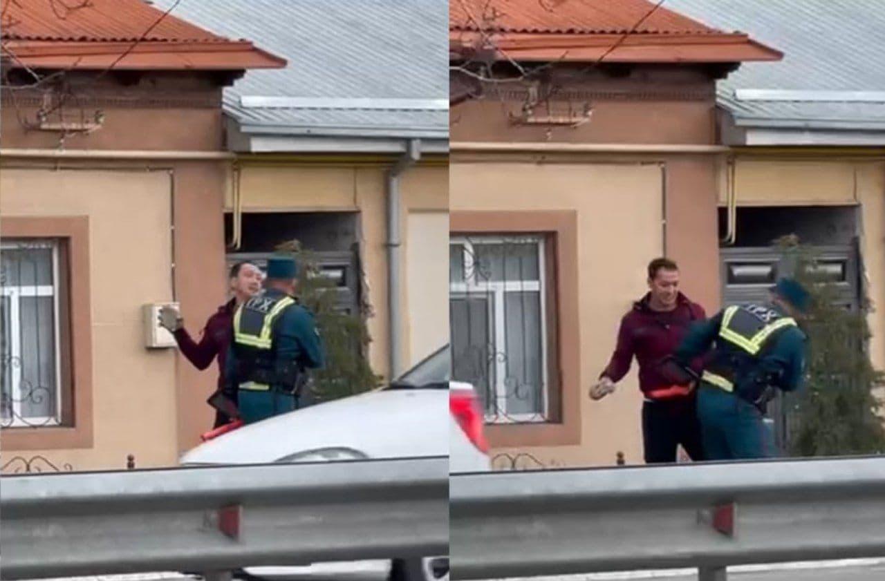 В Ташобласти мужчина замахнулся камнем на инспектора ДПС – видео
