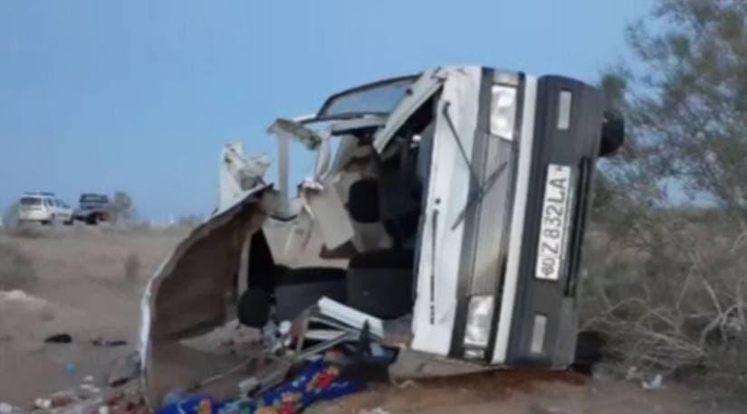 В Бухарской области Damas перевернулся после столкновения с Cobalt — видео