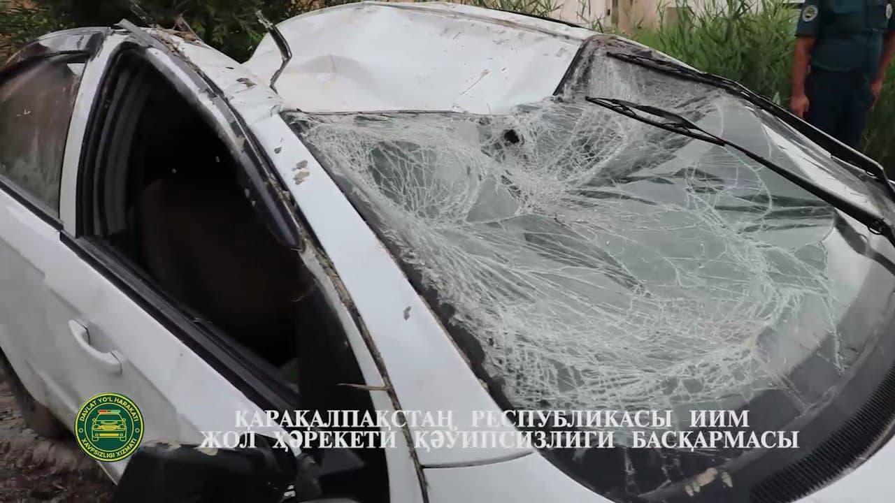 В Каракалпакстане автомобиль Nexia упал в канаву – видео
